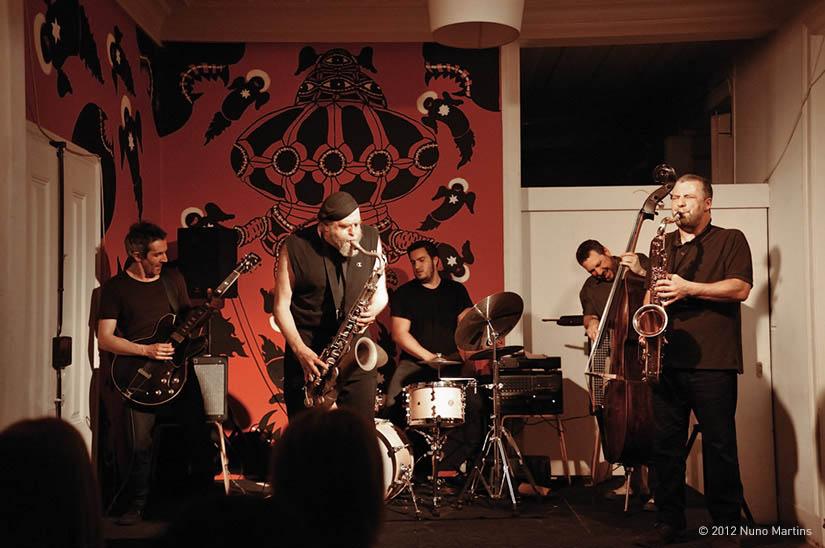 With Elliott Levin, Hernani Faustino, Gabriel Ferrandini, Rodrigo Amado At Trem Azul Jazz Store, Lisboa. Photo By Nuno Martins
